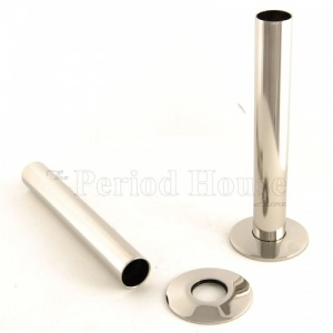 Cast Iron Radiator Pipe Shrouds - Polished Nickel